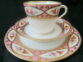 Pink and floral Victorian tea trio